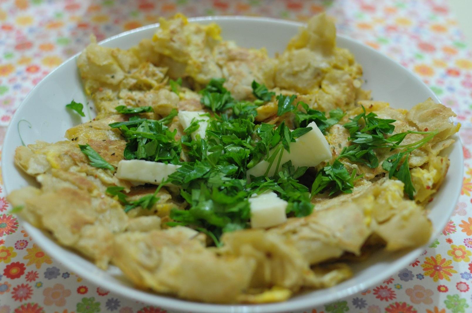 Yufka (sac) ekmekli yumurta